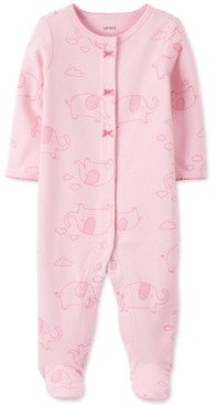Carter's Baby Girls Cotton Elephant-Print Footed Coverall