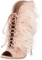 Giuseppe Zanotti Jeweled Feather Suede Lace-Up Bootie