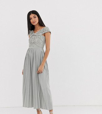 Little Mistress Tall cross front lace top midi pleated skater dress in waterlily