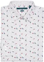 Perry Ellis Slim Fit Heathered Floral Print Shirt