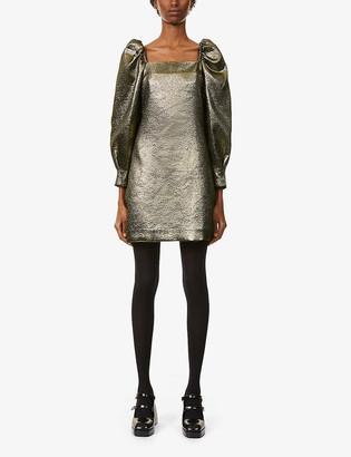 Sandro Julie metallic puffed-sleeve woven mini dress