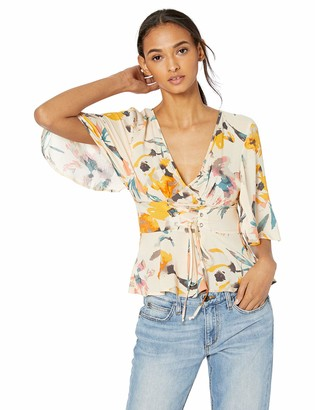 BCBGeneration Women's Abstract Florals Corset Front Top