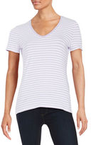 Lord & Taylor Plus Striped Stretch-Cotton Tee