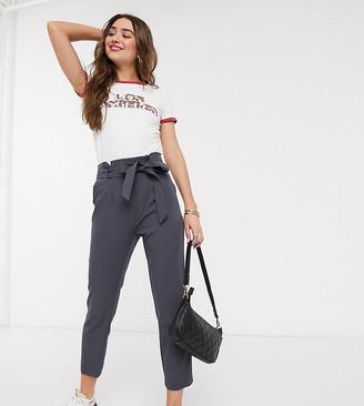 New Look Petite paperbag waist pant in dark grey