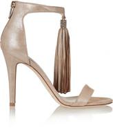 Jimmy Choo Viola Crystal-embellished Tasseled Suede Sandals - Metallic