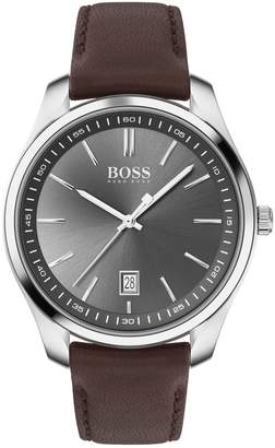BOSS Circuit Stainless Steel Leather-Strap Watch