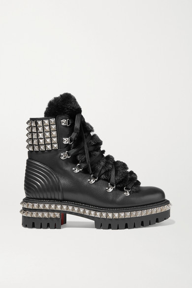 brand new f2f2f e4a1f Yeti Donna Shearling-trimmed Studded Leather Ankle Boots - Black