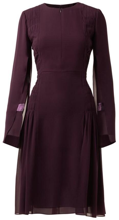 Akris Slit-Sleeve Smocked Silk Sheath Dress