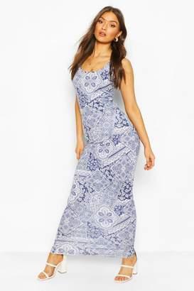 boohoo Tile Print Maxi Dress