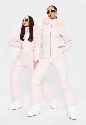 Missguided Pink Msgd Ski Quilted Corset Snow Suit