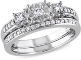 0.23ctw Diamond Flower-Design Engagement Ring and Wedding Band 10K White Gold 2-piece Set