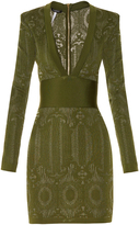Balmain V-neck lace-knit dress
