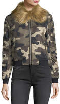 Romeo & Juliet Couture Faux-Fur-Trim Camo Bomber Jacket