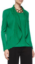 Misook Textured Cascade Jacket, Putting Green