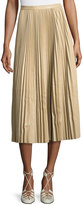 The Row Solly Pleated Leather Midi Skirt, Khaki
