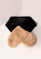 Missguided Two Color Faux Fur Scarf Black