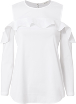 A.L.C. Lucia Poplin Open Shoulder Ruffle Top
