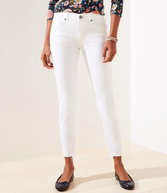 LOFT Petite Curvy Chewed Hem Slim Pocket Skinny Crop Jeans in White