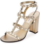 Valentino Rockstud Leather 90mm City Sandal, Skin