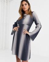 Asos Design DESIGN Long sleeve ombre high neck mini smock dress in sparkle rib