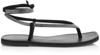 Schutz Abdula Crystal & Leather Wraparound Flat Sandals