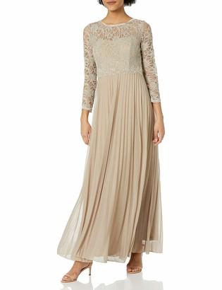 Decode 1.8 Women's Glitter Lace Long Sleeve Embellished Gown with Pleated Skirt