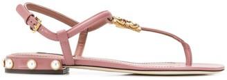 Dolce & Gabbana logo thong-strap sandals