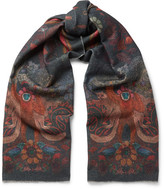 Paul Smith Monkey-print Wool And Cashmere-blend Scarf - Navy