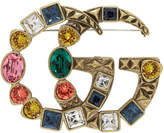 Gucci Gold and Multicolor Crystal GG Brooch