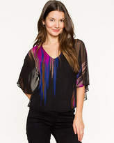 Le Château Abstract Print Chiffon Poncho Blouse