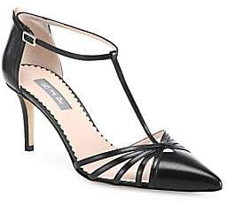 Sarah Jessica Parker Women's Carrie T-Strap Leather Pumps