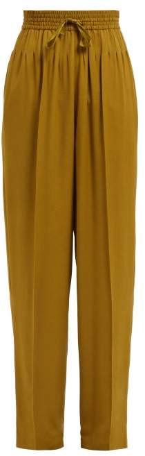Haider Ackermann Tailored High Rise Straight Leg Trousers - Womens - Khaki