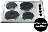 Hotpoint E604X 60cm Built-In Electric Hob With Optional Installation - Stainless Steel