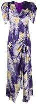 Etro ruched floral-print midi dress
