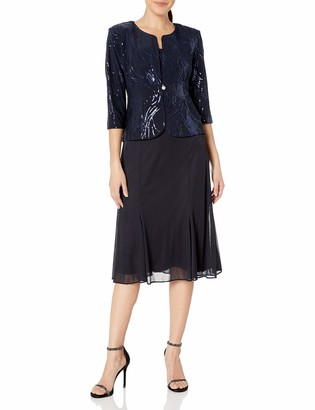 Alex Evenings Women's Sequin Mock Jacket T-Length Dress