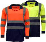 Standsafe Mens Polo Shirts 2 Tone Hi Vis Visibility Long Sleeve Yellow/Navy