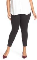 Sejour Plus Size Women's Seam Detail Crop Ponte Leggings