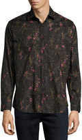 Jared Lang Floral-Print Button-Front Shirt, Black