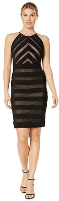 Adrianna Papell Mitered Banded Jersey Dress (Black/Pale Pink) Women's Dress