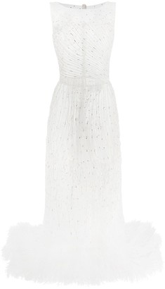 Loulou Fitted Sheer Embellished Dress