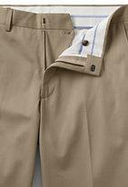 Lands' End Men's Plain Front Tailored Fit No Iron Twill Dress Pants-Khaki