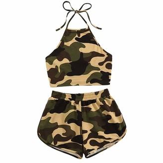 kolila Pajamas for Women Teen Girl Off Shoulder Print Crop Tops +Shorts Two-Piece Outfit Set Home Loungewear(Green S)