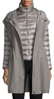 Peserico Three-In-One Puffer Jacket W/Vest, Dark Taupe