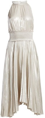 A.L.C. Weston Metallic Pleated Midi Dress