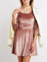 Charlotte Russe Velvet Scoop Neck Skater Dress
