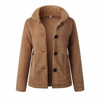 Younthone Teddy Coat Women Warm Button Pockets Flannel Long Sleeve Sweatshirt Pullover Coat Outwear Outdoor Thick Coat Daily Casual Jacket Clothing Red Pink Coffee