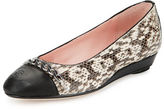 Taryn Rose Paola Snake-Embossed Leather Ballerina, Natural/Black