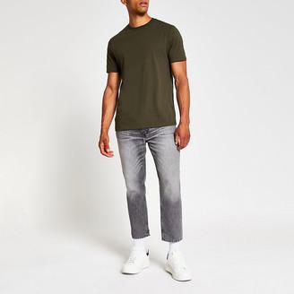 River Island Khaki slim fit crew neck T-shirt
