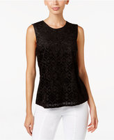 Kasper Burnout-Knit Scoop-Neck Shell