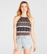 Aeropostale Womens Geometric High-Neck Crop Tank Shirt Ivory